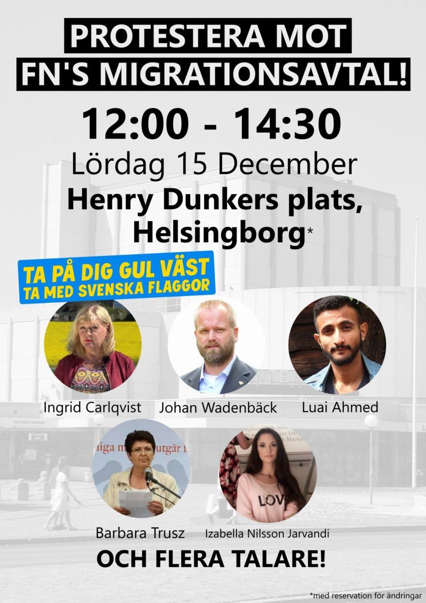 Protester i Helsingborg kl 12.00 nu på lördag den 15/12